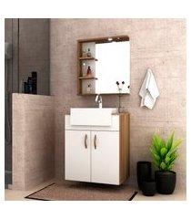 conjunto para banheiro lara bosi gabinete + cuba e espelheira led nogal/branco