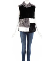 jocelyn gray black color block fur vest black/gray sz: m