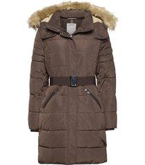 coats woven gevoerde lange jas bruin esprit casual