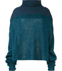 unravel project drop shoulder sweater - blue