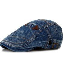 uomo vintage coppola in denim estiva con visiera alla moda berretto con  protezione da sole c9abb2de70a7