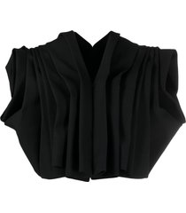 comme des garçons ruffled cropped jacket - black