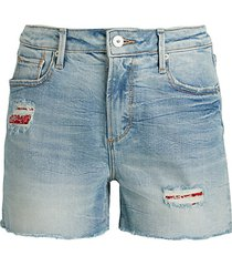 patch distressed denim shorts