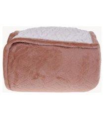 cobertor sherpa solteiro pele de carneiro matelassado extra quentinho terracota - tessi