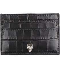 alexander mcqueen printed leather card holder