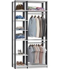 closet com 2 cabideiros branco e espresso lilies móveis