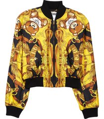 moschino teddy scarf print silk bomber jacket, size 10 us in fantasy print yellow at nordstrom