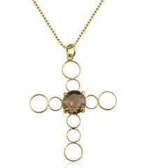 colar toque de joia crucifixo quartzo fumê ouro amarelo