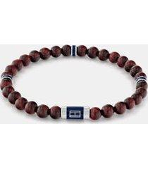 tommy hilfiger men's brown wood beaded bracelet brown -