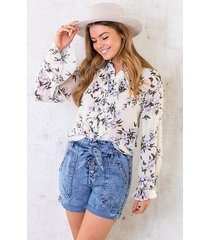 floral print ruches blouse