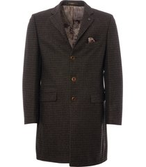 gibson check winnie coat - black, green & tan g18243vn