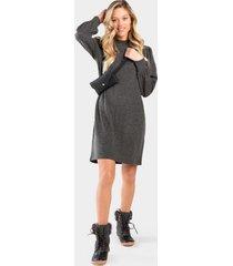 sophia long sleeved shirt dress - dark grey