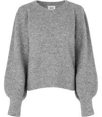 gebreide trui met pofmouwen kalliroi  grijs