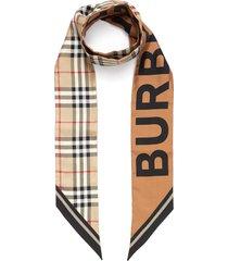archive check logo print skinny silk scarf