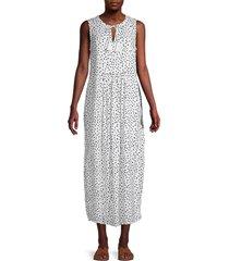 beach lunch lounge women's kamarin dot-print maxi dress - white - size l