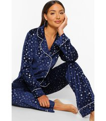 fluwelen pyjama set met knopen en metallic sterren, navy