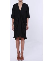 casual plunging neck 3/4 batwing sleeve ruffled solid color women's dress