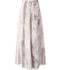 masnada drawstring ink print silk skirt - grey