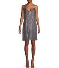 equipment women's tansie silk & metallic dress - dark grey - size l