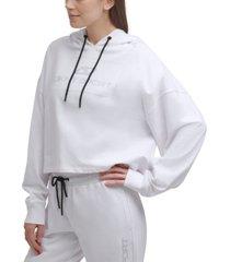 dkny sport women's rhinestone logo cotton hoodie