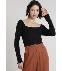 blusa feminina canelada manga longa decote princesa preta