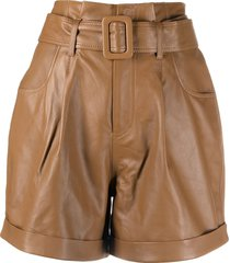 federica tosi high-rise belted-waist leather shorts - brown
