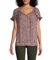 max studio women's crepe printed blouse - burgundy multi - size xl
