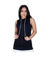 colete fitness feminino dry bolso e capuz com zíper orbis