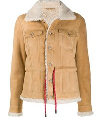 dsquared2 sheepskin jacket with contrast belt - neutrals