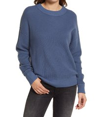 women's treasure & bond thermal stitch pullover, size x-large - blue