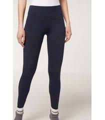calzedonia supima cotton leggings woman blue size s