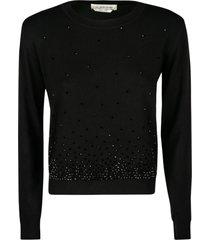 anna molinari bead embellished ribbed sweater