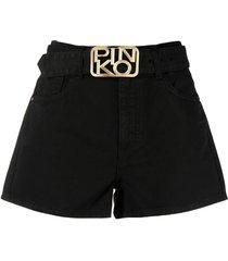 pinko brookyn shorts with logo buckle