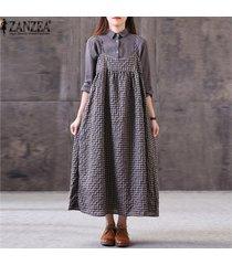 zanzea mujeres casual plaid check vestido de tirantes kaftan flojo maxi vestido de algodón -marrón