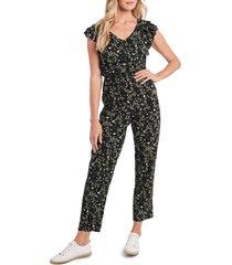 women's cece floral print jumpsuit, size 2 - black