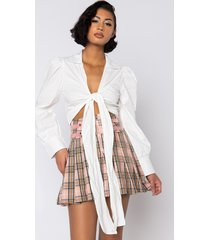 akira shake it up tie front crop blouse