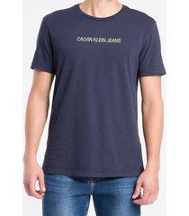 camiseta mc regular logo meia reat gc - azul marinho - pp
