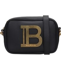 balmain b-camera case shoulder bag in black leather