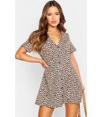 petite luipaardprint jurk met knopen, bruin