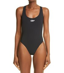 women's off-white logo crisscross strap one-piece swimsuit, size 8 us - black