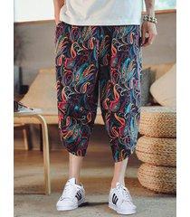 pantalones capris holgados informales con estampado retro de paisley para hombre