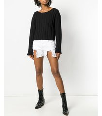 t by alexander wang frayed ribbed sweater - black