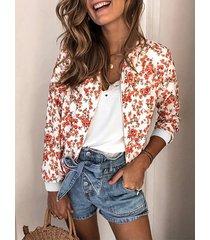 chaqueta de manga larga con cremallera frontal con estampado floral al azar