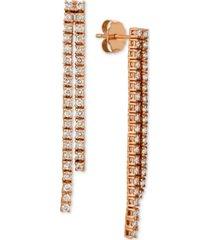 le vian diamond pave linear drop earrings (1 ct. t.w.) in 14k rose gold