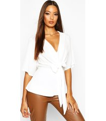 knot front woven blouse, ivory