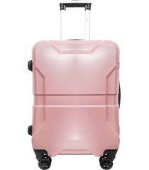 mala denlex pequena de viagem rosa com glitter tsa rodas duplas 0790 - rosa - feminino - dafiti