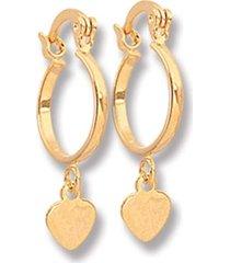 argola le diamond pingente chapa coraçáo dourada - tricae