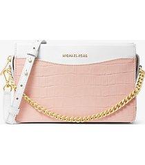 mk borsa a tracolla jetset grande in pelle stampa coccodrillo con catena - rosa tenue cangiante (rosa) - michael kors