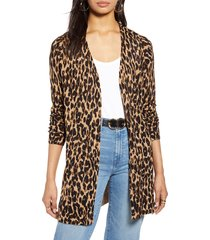 women's halogen leopard print linen blend cardigan