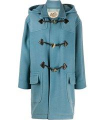hermès 2000s pre-owned hooded duffle coat - blue